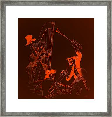 The Marx Brothers Orange Framed Print by Rob Hans