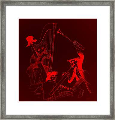 The Marx Brothers Red Framed Print by Rob Hans