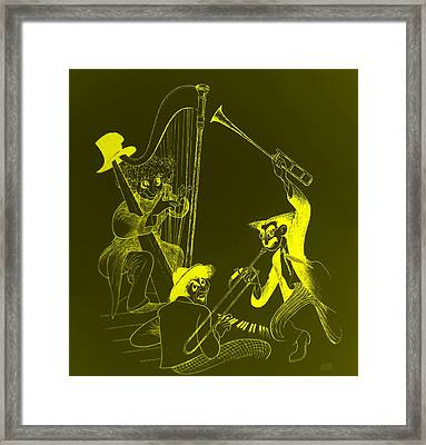 The Marx Brothers Yellow Framed Print by Rob Hans