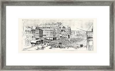 The Mass Meeting At The Statue Of Henry Clay In Canal Framed Print