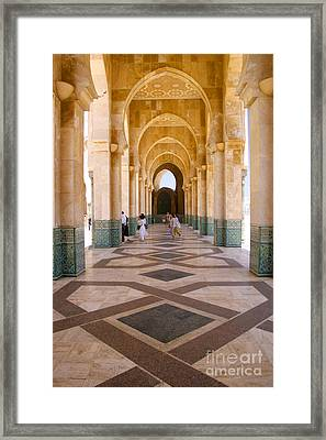 The Massive Colonnades At The Hassan II Mosque Sour Jdid Casablanca Morocco Framed Print