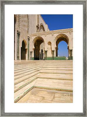 The Massive Colonnades Leading To The Hassan II Mosque Sour Jdid Casablanca Morocco Framed Print by PIXELS  XPOSED Ralph A Ledergerber Photography