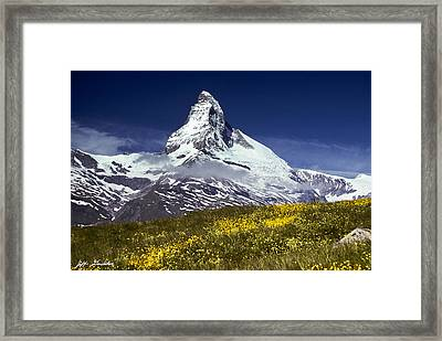 Framed Print featuring the photograph The Matterhorn With Alpine Meadow In Foreground by Jeff Goulden