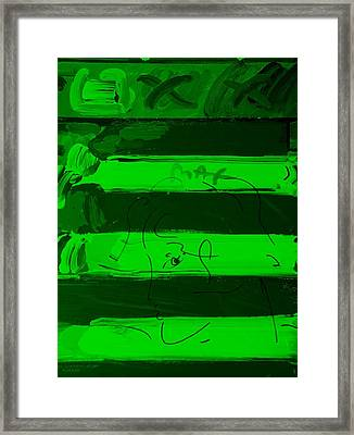 The Max Face In Green Framed Print by Rob Hans