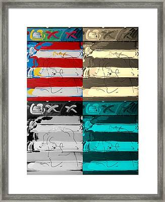 The Max Face In Quad Colors Framed Print by Rob Hans