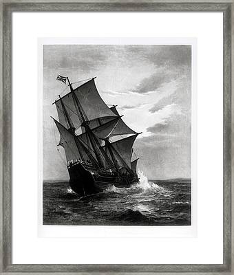 The Mayflower, Engraved And Pub. By John A. Lowell, Boston, 1905 Engraving Bw Photo Framed Print by Marshall Johnson