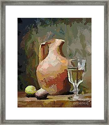 The Mayolka And Glass Of White Framed Print by Dragica  Micki Fortuna