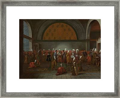 The Meal In Honour Of Ambassador Cornelis Calkoen Framed Print by Litz Collection