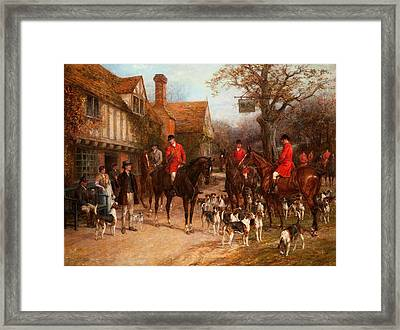 The Meet, Ye Olde Wayside Inn Framed Print by Heywood Hardy