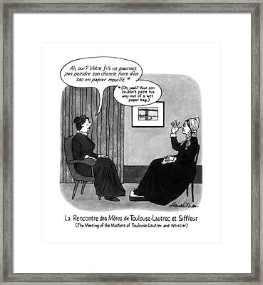 The Meeting Of The Mothers Of Toulouse-lautrec Framed Print by J.B. Handelsman
