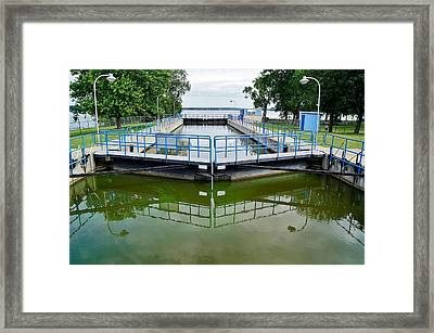 The Menasha Lock Along The Fox Wisconsin Heritage Parkway Framed Print by Carol Toepke