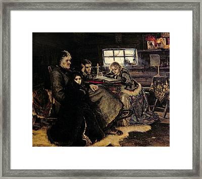 The Menshikov Family In Beriozovo, 1883 Oil On Canvas Framed Print by Vasilij Ivanovic Surikov