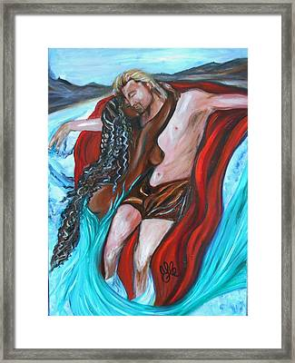 The Mermaid - Love Without Boundaries- Interracial Lovers Series Framed Print