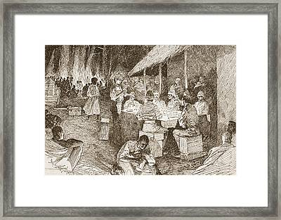 The Mess Table In The Forest Framed Print