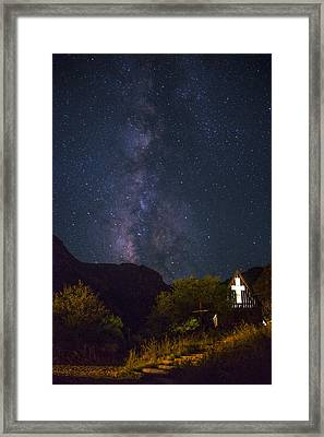 The Milky Way To The Chapel Framed Print by Aaron Bedell