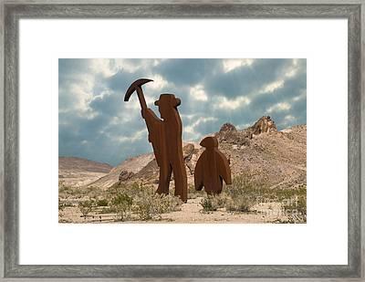 The Miner & Penguin In Rhyolite Ghost Framed Print