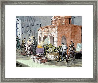 The Mint House Workers In The Smelting Framed Print