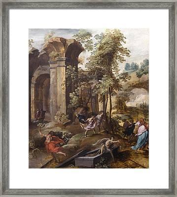 The Miracle At The Grave Of Elisha Framed Print