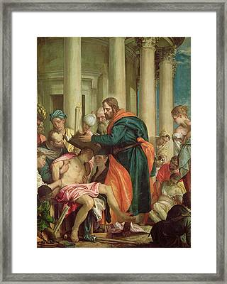 The Miracle Of St. Barnabas, C.1566 Oil On Canvas Framed Print by Veronese
