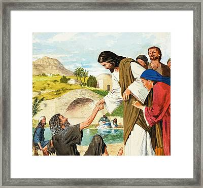 The Miracles Of Jesus  Making The Lame Man Walk Framed Print by Clive Uptton