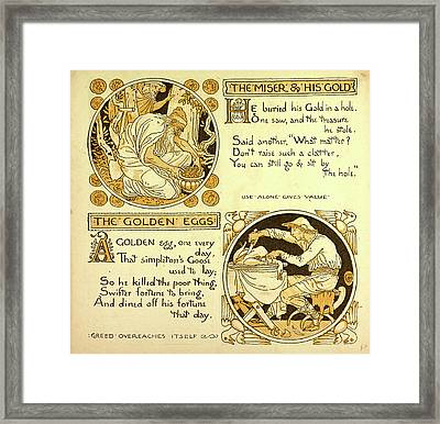 The Miser And His Gold The Golden Eggs Framed Print