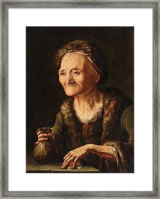 The Miser. The Old Bailiff Woman Framed Print by Balthasar Denner