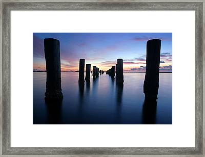 The Missing Pier At Sunset Framed Print by Daniel Woodrum