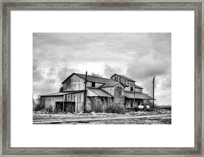 The Mississppi Delta Cotton Gin Black And White Framed Print by JC Findley