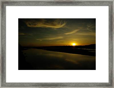 The Missouri River At Sunset South Of Culbertson Mt  Framed Print by Jeff Swan