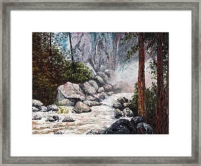 The Mist At Bridalveil Falls Framed Print by Darice Machel McGuire