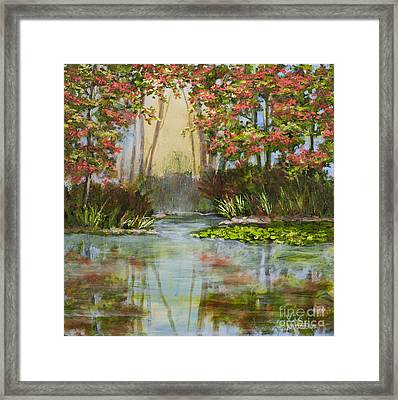 The Mist Beyond With Gold Leaf By Vic Mastis Framed Print by Vic  Mastis