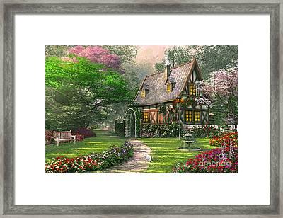 The Misty Lane Cottage Framed Print