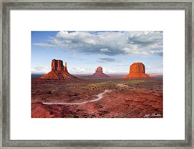The Mittens And Merrick Butte At Sunset Framed Print