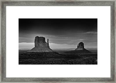 The Mittens Of Monument Valley In Evening Light Framed Print by Jesse Castellano