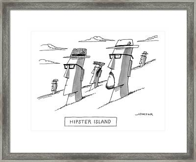 The Moai Statues Of Easter Island Are Changed Framed Print