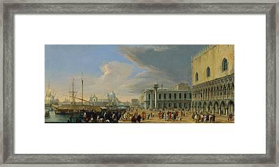 The Molo Venice Looking West Framed Print by Luca Carlevarijs