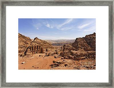 The Monastery And Landscape At Petra In Jordan Framed Print by Robert Preston