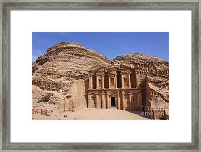 The Monastery At Petra Framed Print by Robert Preston
