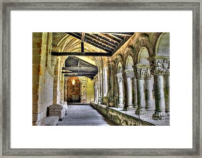 The Monastery Corridors Framed Print by Ines Bolasini