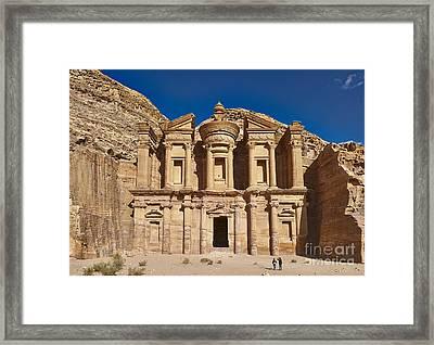 The Monastery El Deir Or Al Deir In Nabataean Ancient Town Petra Jordan Framed Print by Juergen Ritterbach