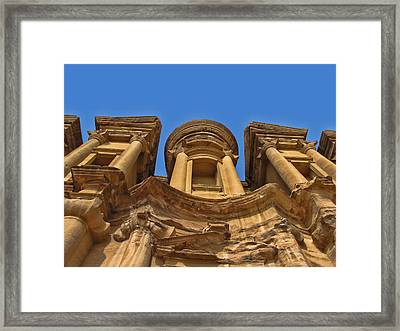 Framed Print featuring the photograph The Monastery In Petra by David Gleeson