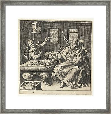 The Money Weighers And Death, Jacob De Gheyn II Framed Print by Jacob De Gheyn Ii