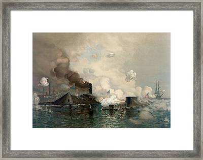The Monitor And Merrimac, 1862 Framed Print