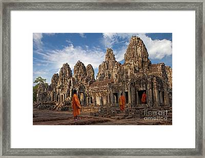 The Monks Of Bayon Framed Print by Pete Reynolds