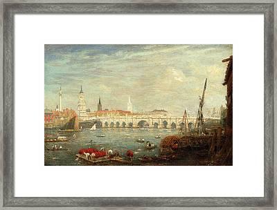 The Monument And London Bridge, London Frederick Nash Framed Print