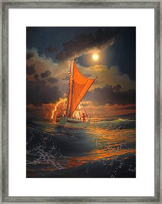 The Mo'okiha O Pi'ilani Sailing In Front Of The Storm In The Moonlight Framed Print by Loren Adams