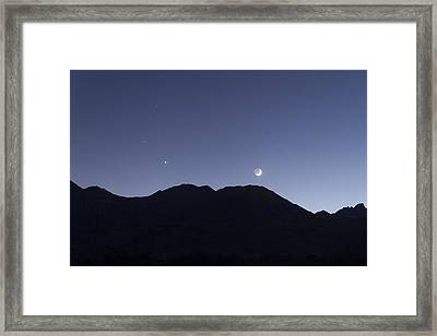 The Moon And Venus Over The Sierras Framed Print