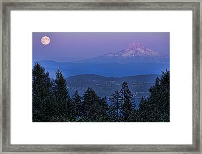 The Moon Beside Mt. Hood Framed Print