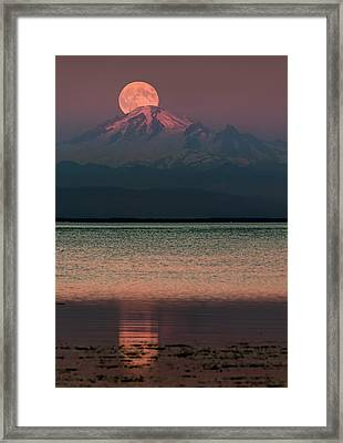 The Moon Over Mount Baker Framed Print by Alexis Birkill