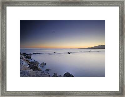 the Moon over the sea Framed Print by Guido Montanes Castillo